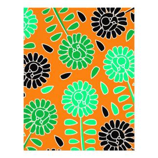 花のコントラストのオレンジ レターヘッド