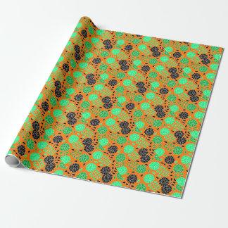 花のコントラストのオレンジ 包装紙
