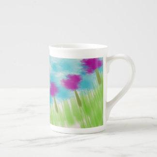 花のコーヒーカップ ボーンチャイナカップ