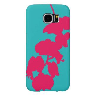 花のシルエット、ピンクおよびティール(緑がかった色) SAMSUNG GALAXY S6 ケース