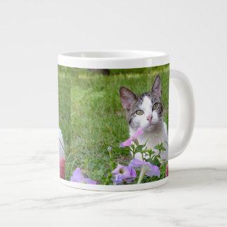 花のジャンボマグの子猫 ジャンボコーヒーマグカップ