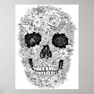 花のスカルポスター ポスター