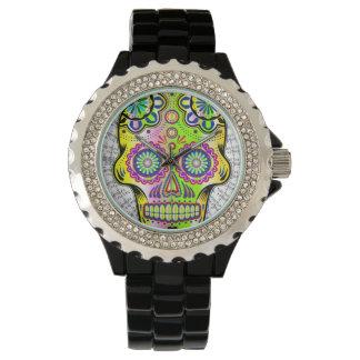 花のスカル1 腕時計