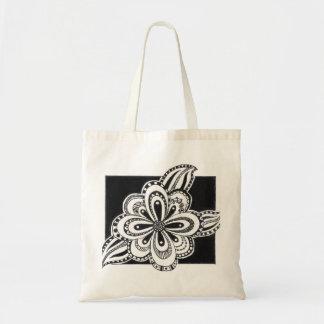 花のスケッチが付いているトートバック トートバッグ