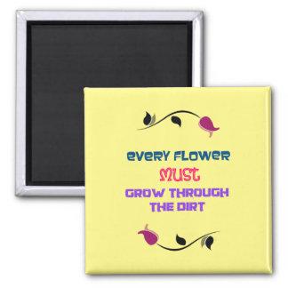 花のスケッチとの感動的なタイポグラフィの引用文 マグネット
