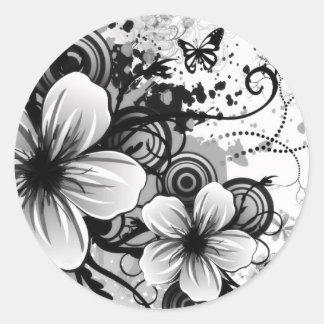 花のスケッチの円形のステッカー ラウンドシール