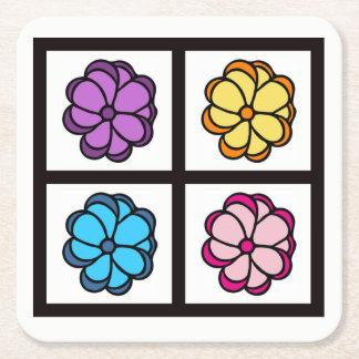 花のスケッチ スクエアペーパーコースター