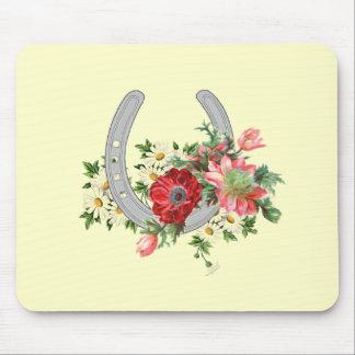 花のスプレーの蹄鉄のマウスパッド マウスパッド