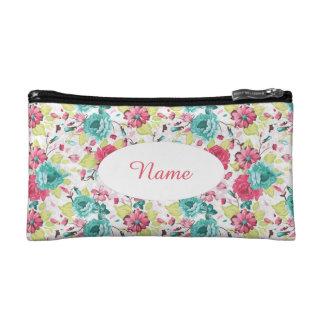 花のタペストリーの一見の名前入りなクラッチ コスメティックバッグ