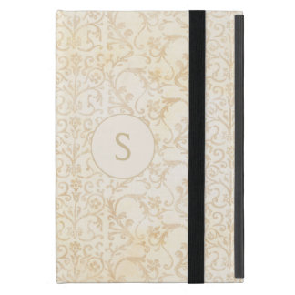 花のダマスク織クリームおよびベージュ色 iPad MINI ケース