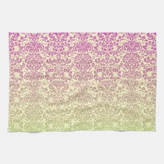 花のダマスク織 キッチンタオル