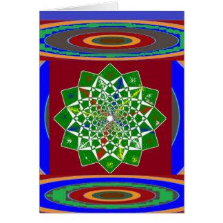花のチャクラの車輪エネルギー: エメラルドグリーン カード