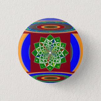 花のチャクラの車輪エネルギー: エメラルドグリーン 缶バッジ