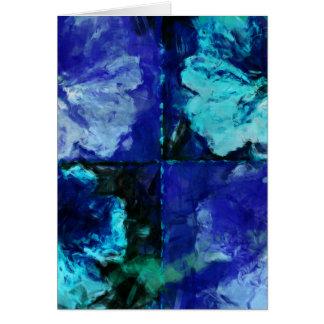 花のティール(緑がかった色)および青 カード