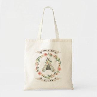 花のテント小屋のカスタムな図書館のバッグ トートバッグ