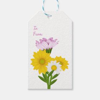 花のデイジーの&Sunflowersの紫色の黄色い花 ギフトタグ