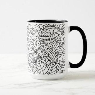花のデザインの落書き マグカップ
