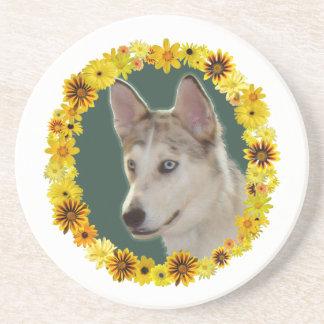 花のハスキーな犬の円 コースター