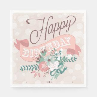 花のハッピーバースデーの空想の原稿の紙ナプキン スタンダードランチョンナプキン