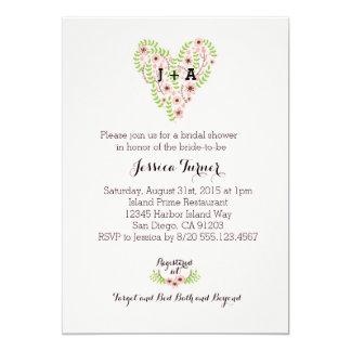 花のハートのピンクのリースのブライダルシャワーの招待 カード