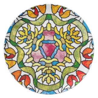 花のハートのモザイク プレート