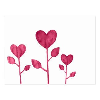 花のハートの水彩画のバーガンディの赤 ポストカード