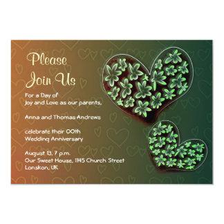 花のハートの結婚記念日の招待状 カード