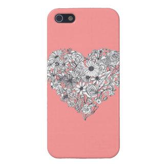 花のハートのiPhone 5の場合-珊瑚 iPhone 5 ケース
