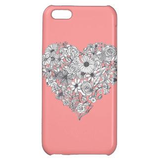 花のハートのiPhone 5の場合-珊瑚 iPhone 5C Case