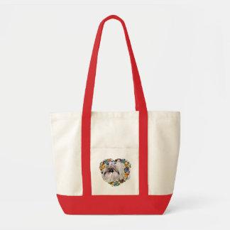 花のハートのPekingese トートバッグ