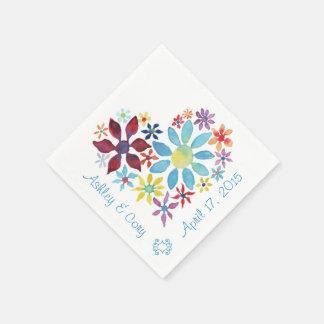 花のハート スタンダードカクテルナプキン