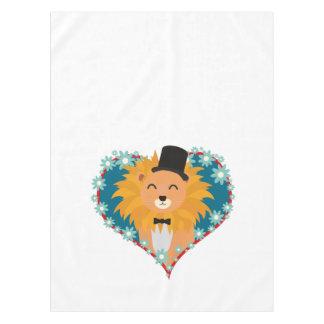 花のハートZdjpdの帽子を持つライオン テーブルクロス