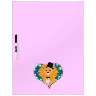 花のハートZdjpdの帽子を持つライオン ホワイトボード