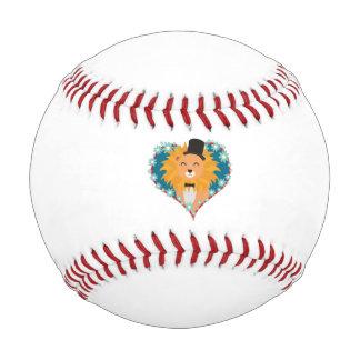 花のハートZdjpdの帽子を持つライオン 野球ボール
