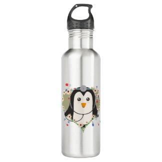 花のハートZuq99のペンギンの医者 ウォーターボトル