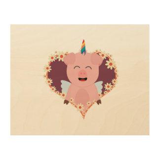 花のハートZzvrvのユニコーンの天使のブタ ウッドウォールアート