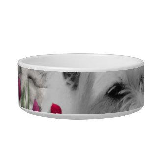 花のバイオレット- Westie白い犬 ボウル