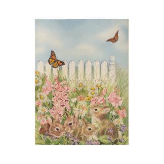 花のバニー ウッドポスター