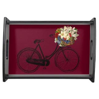 花のバーガンディの皿が付いている自転車 トレー
