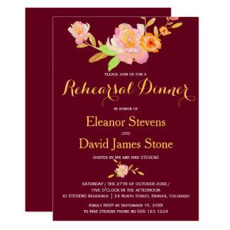 花のバーガンディの金ゴールドの秋の結婚式のリハーサルの夕食 12.7 X 17.8 インビテーションカード