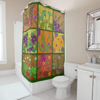 花のパッチワークのシャワー・カーテン シャワーカーテン