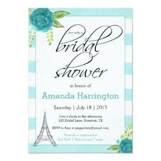 花のパリのブライダルシャワーの招待状-水彩画 カード