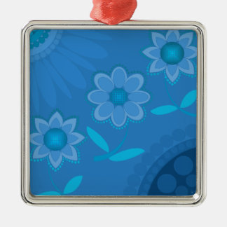花のパワーファンタジーの花および形 シルバーカラー正方形オーナメント