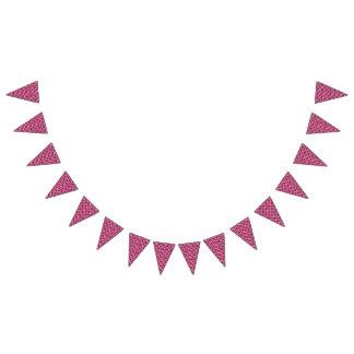 花のピンクのコラージュパターン バンティングフラッグ