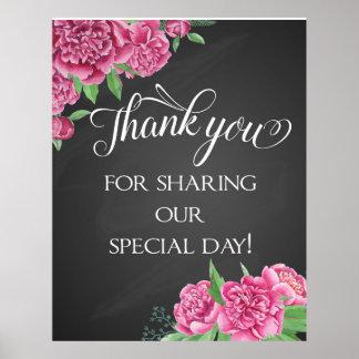 花のピンクのシャクヤクの結婚式の黒板ありがとう ポスター