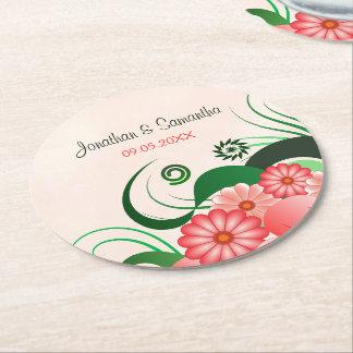 花のピンクのハイビスカスの円形の結婚式の紙のコースター ラウンドペーパーコースター
