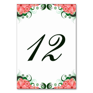 花のピンクのハイビスカスの披露宴のテーブル数カード カード