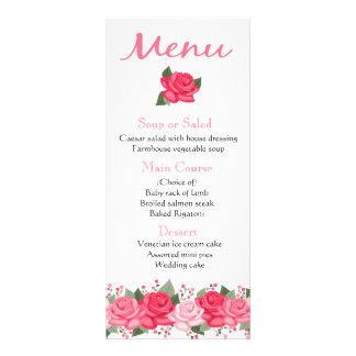 花のピンクのバラによってはメニュー-結婚式、パーティー--が開花します ラックカード