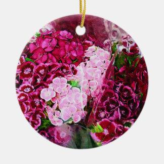 花のピンクのマゼンタ 陶器製丸型オーナメント