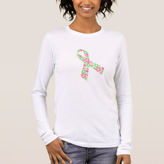 花のピンクのリボンl/sのティー 長袖Tシャツ
